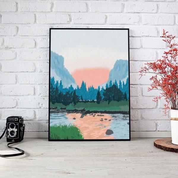Lake Landscape Framed Poster