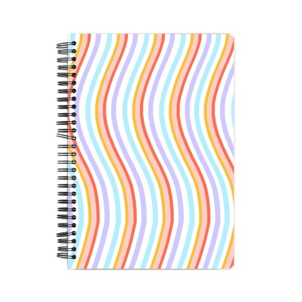 Colorful Wave Pattern Spiral Notebook