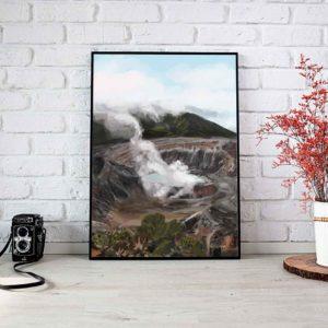 Poas Volcano Landscape Framed Poster