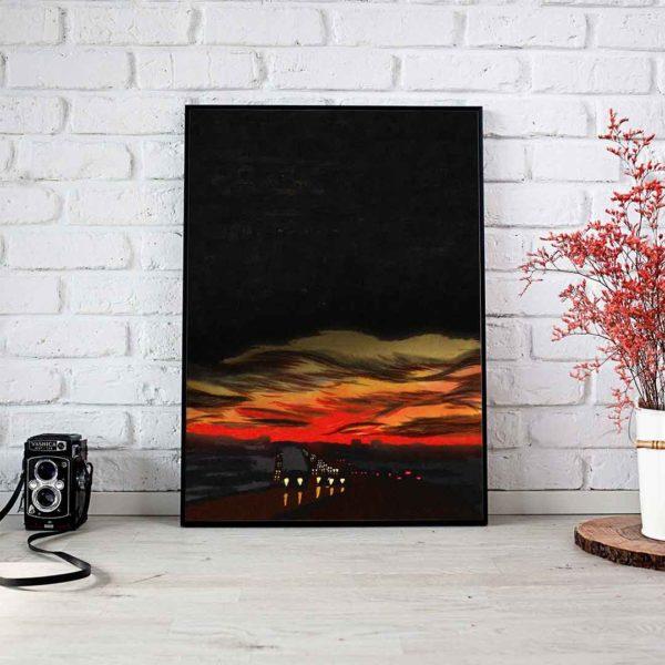 Highway Landscape Framed Poster