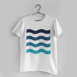 Waves White Round Neck T-Shirt