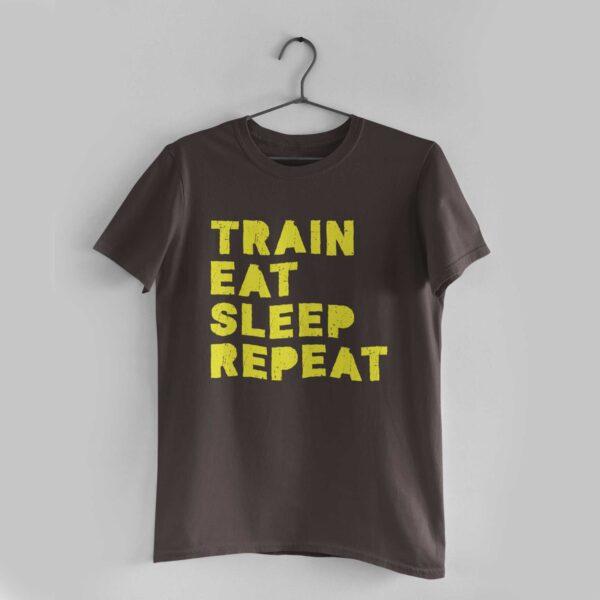 Train Eat Sleep Repeat Charcoal Grey Round Neck T-Shirt