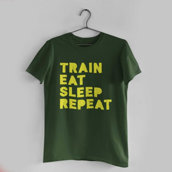 Train Eat Sleep Repeat Olive Green Round Neck T-Shirt