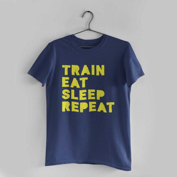 Train Eat Sleep Repeat Navy Blue Round Neck T-Shirt