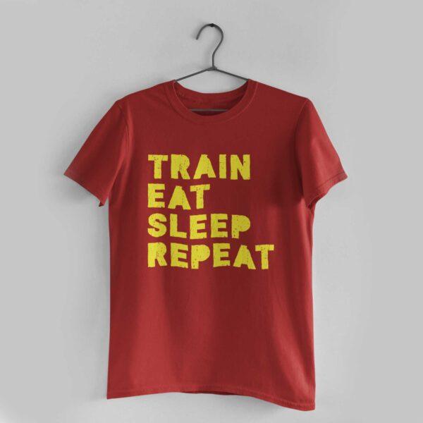 Train Eat Sleep Repeat Red Round Neck T-Shirt