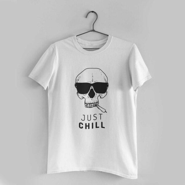Just Chill White Round Neck T-Shirt