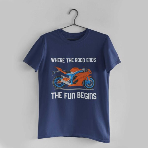 Where the Road Ends Navy Blue Round Neck T-Shirt
