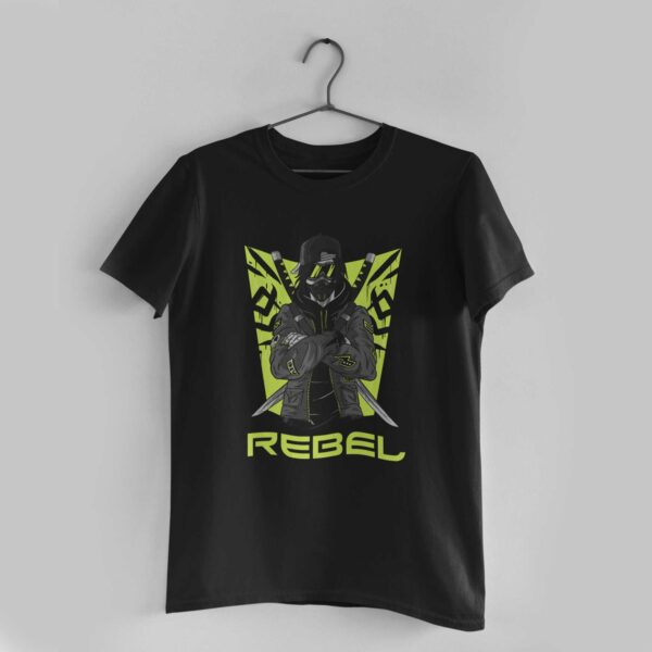 Rebel Black Round Neck T-Shirt