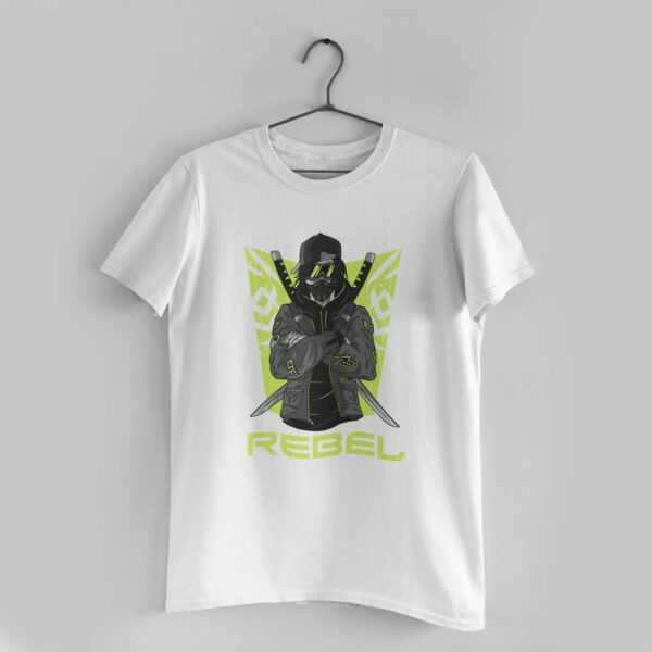 Rebel White Round Neck T-Shirt