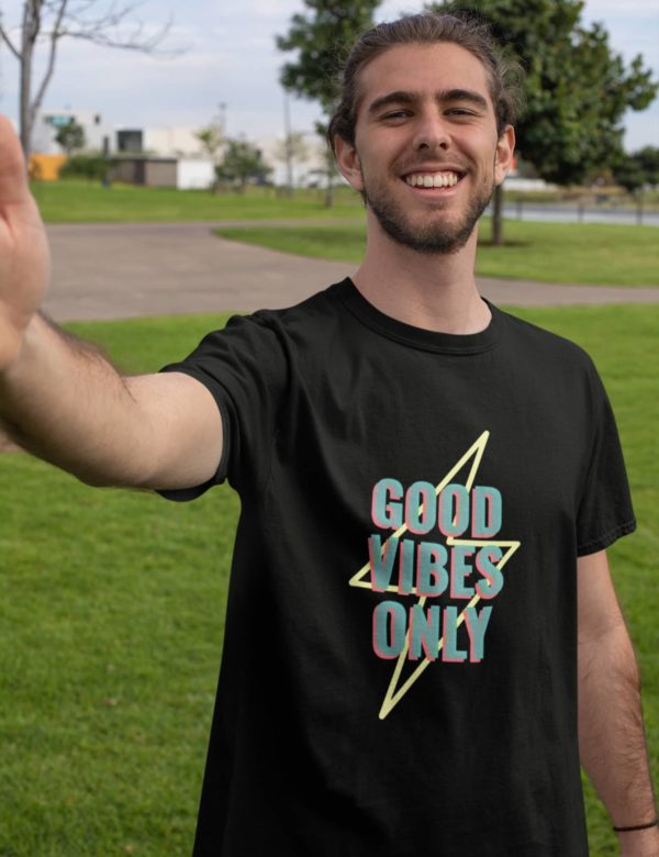 Good Vibes Only Black Round Neck T-Shirt