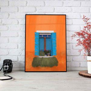 Open Window Illustration Framed Poster
