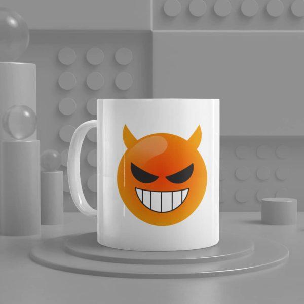 Smiling Face with Horns Emoji Ceramic Mug