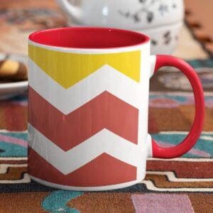 Zig Zag Pattern Red Inner Colored Mug