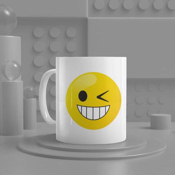 Winking Face Emoji Ceramic Mug