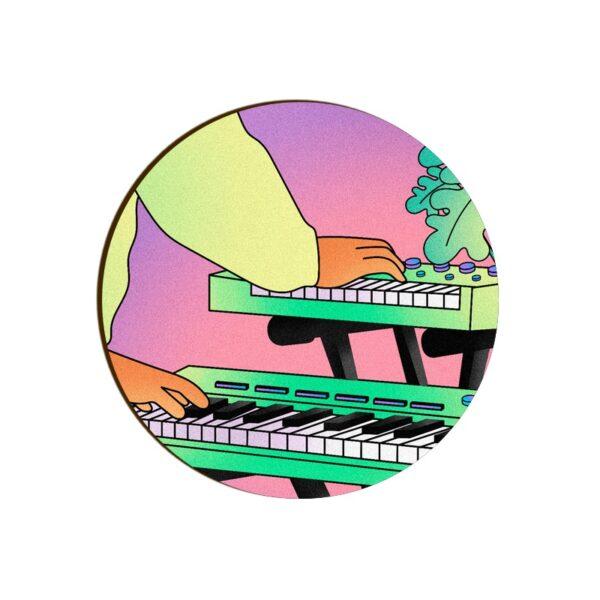 Electronic Keyboard Round Coaster