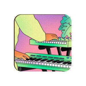 Electronic Keyboard Square Coaster