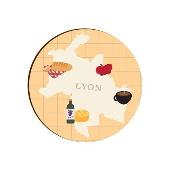 Lyon Map Round Coaster