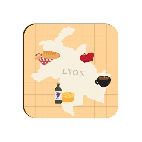Lyon Map Square Coaster