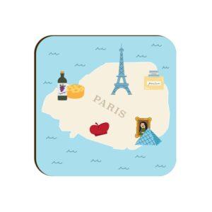 Paris Map Square Coaster
