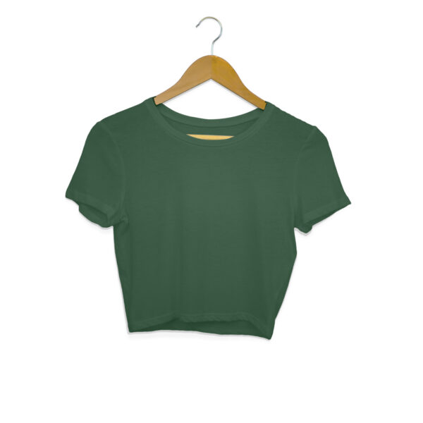 Olive Green Plain Crop Top