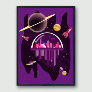 City in Space Framed Poster