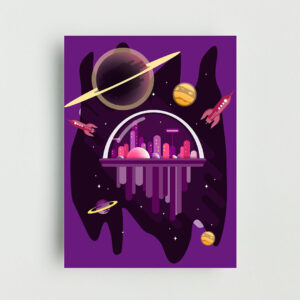 City in Space Non Framed Poster