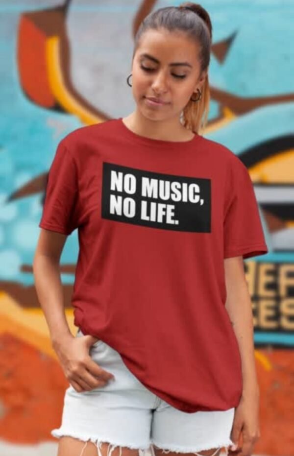 No Music No Life Red Women Round Neck T-Shirt