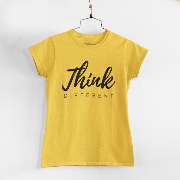 Think Different Golden Yellow Round Neck T-Shirt