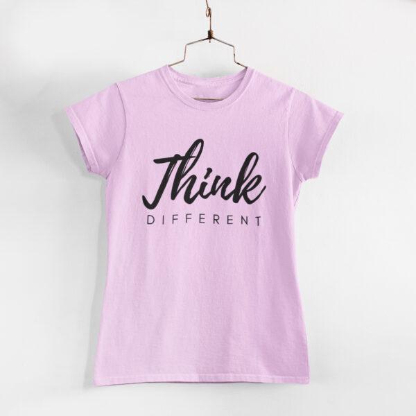Think Different Light Pink Round Neck T-Shirt