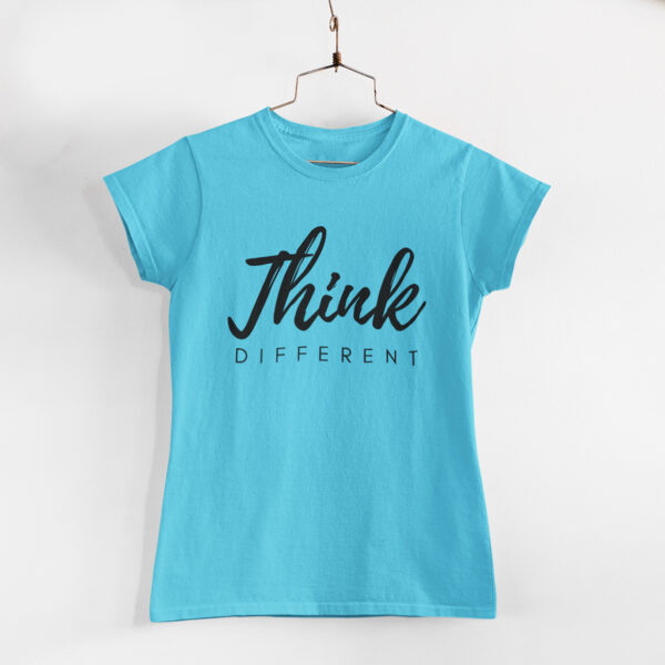 Think Different Sky Blue Round Neck T-Shirt