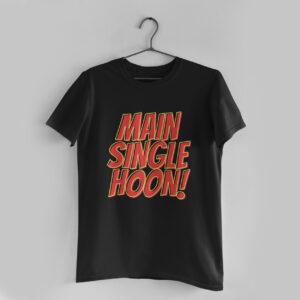 Main Single Hoon Black Round Neck T-Shirt