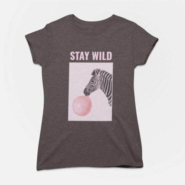 Stay Wild Charcoal Grey Round Neck T-Shirt