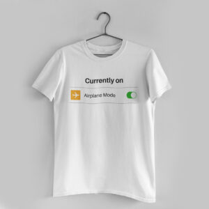 Airplane Mode White Round Neck T-Shirt