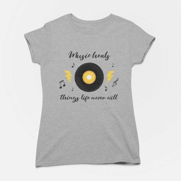 Music Heals Charcoal Grey Round Neck T-Shirt