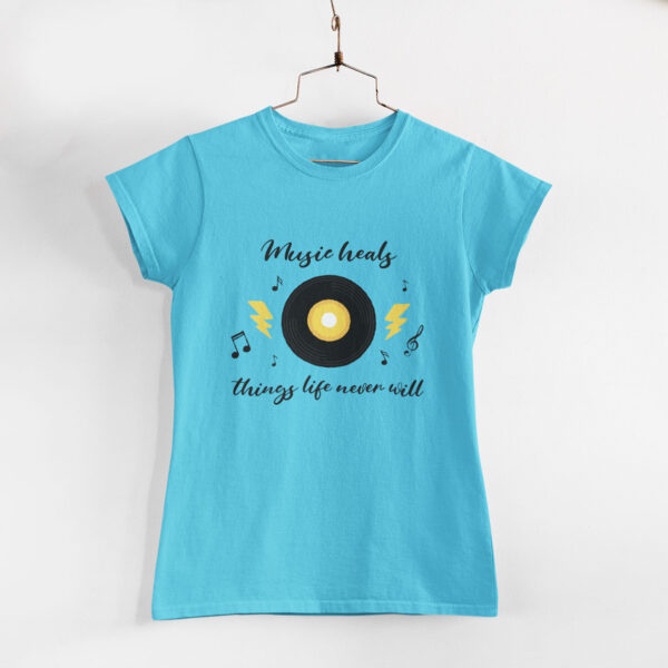 Music Heals Sky Blue Round Neck T-Shirt