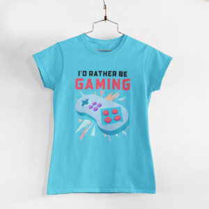 Be Gaming Women Sky Blue Round Neck T-Shirt