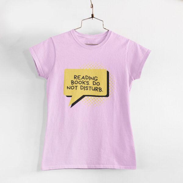 Reading Books Women Light Pink Round Neck T-Shirt