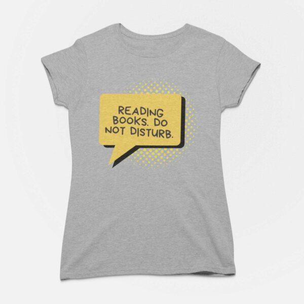 Reading Books Women Malenge Grey Round Neck T-Shirt