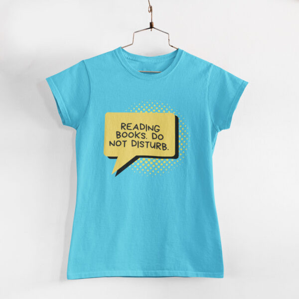 Reading Books Women Sky Blue Round Neck T-Shirt