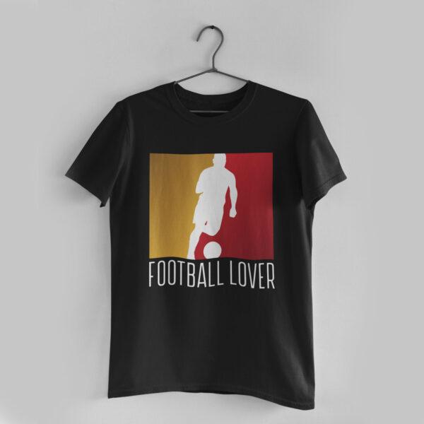 Football Lover Black Round Neck T-Shirt