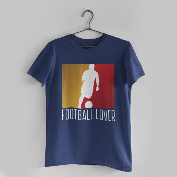 Football Lover Navy Blue Round Neck T-Shirt