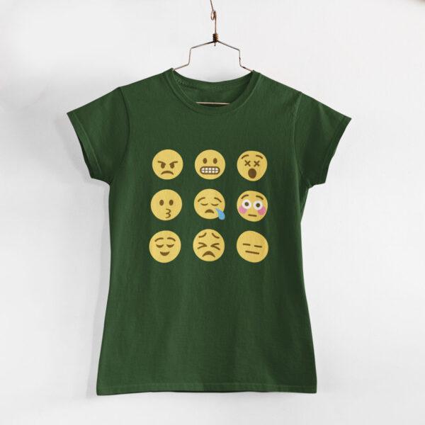Emojis Women Olive Green Round Neck T-Shirt
