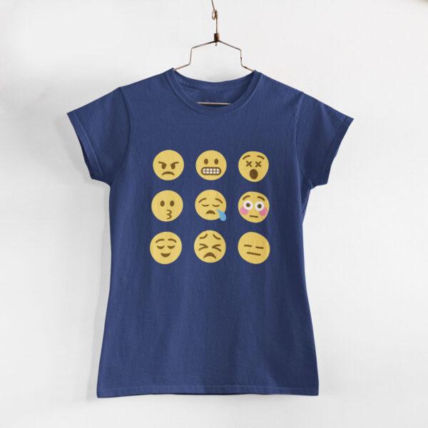 Emojis Women Navy Blue Round Neck T-Shirt