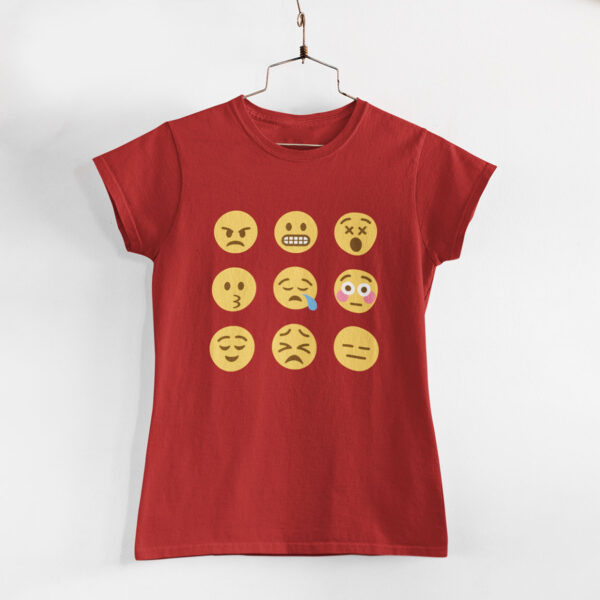 Emojis Women Red Round Neck T-Shirt