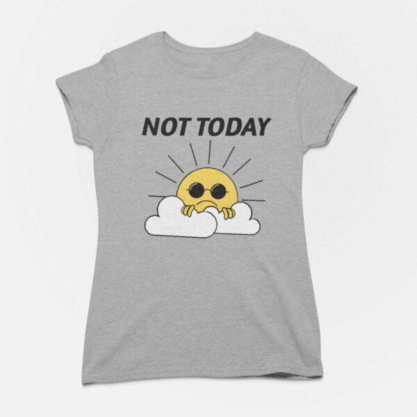 Not Today Women Melange Grey Round Neck T-Shirt