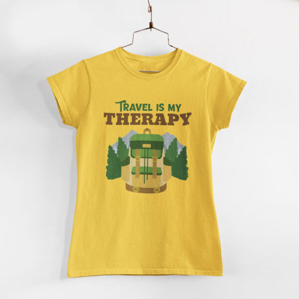 Travel Is My Therapy Women Golden Yellow Round Neck T-Shirt