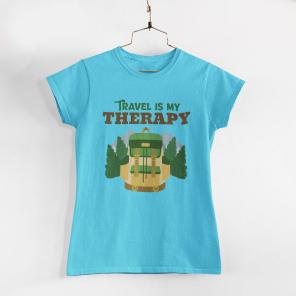 Travel Is My Therapy Women Sky Blue Round Neck T-Shirt