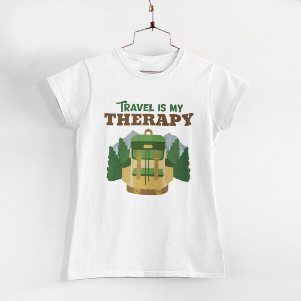 Travel Is My Therapy Women White Round Neck T-Shirt