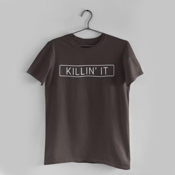 Killin' It Charcoal Grey Round Neck T-Shirt