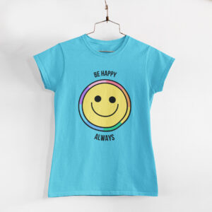 Be Happy Always Sky Blue Round Neck T-Shirt